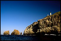 Cliffs and lighthouse, East Anacapa Island. Channel Islands National Park, California, USA. (color)