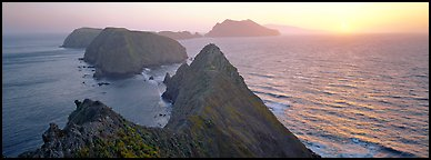Spring sunset over ocean and islands, Anacapa Island. Channel Islands National Park (Panoramic color)
