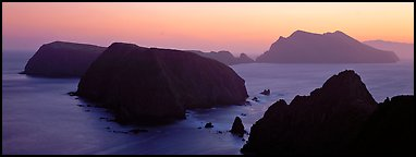 Chain of islands at sunset, Anacapa Island. Channel Islands National Park (Panoramic color)