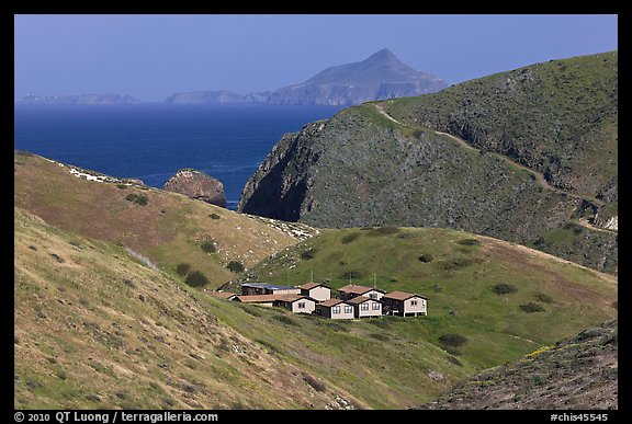 Ranger residences, Santa Cruz Island. Channel Islands National Park (color)