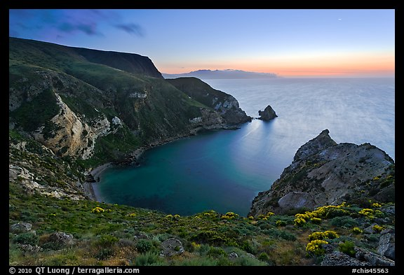 Twilight, Potato Harbor, Santa Cruz Island. Channel Islands National Park, California, USA.