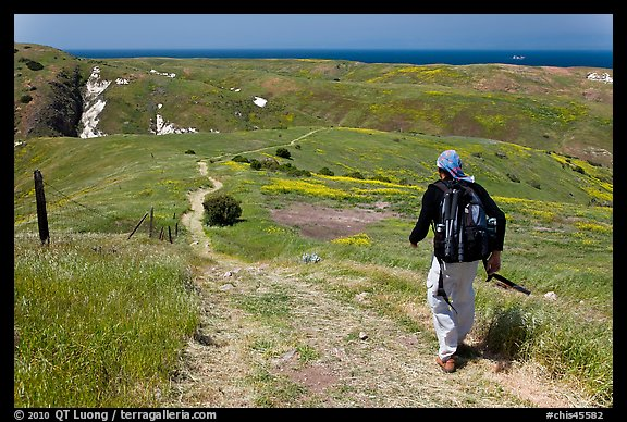 Hiker on trail in the spring, Santa Cruz Island. Channel Islands National Park (color)