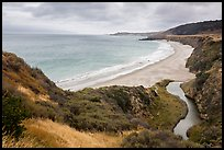 Water Canyon Beach and stream from above, Santa Rosa Island. Channel Islands National Park ( color)