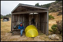 Camper, tent, wind shelter, Santa Rosa Island. Channel Islands National Park ( color)