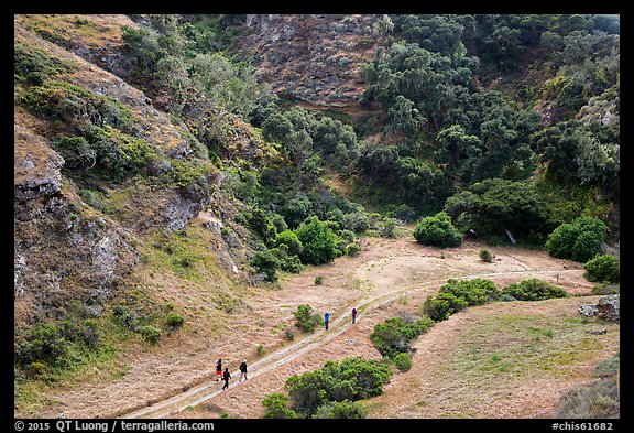 Hikers at Lobo Canyon entrance, Santa Rosa Island. Channel Islands National Park (color)