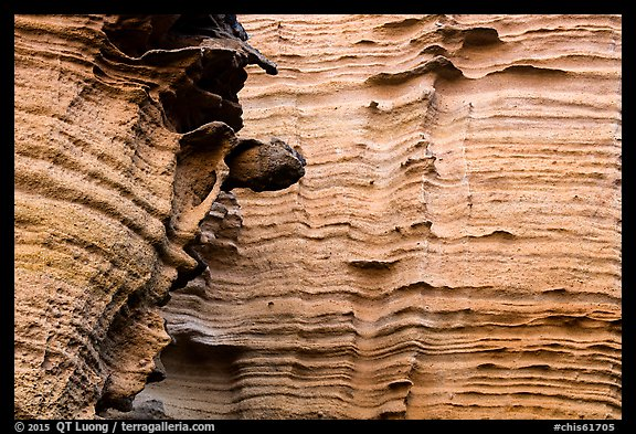 Detail of water-sculptured canyon wall, Lobo Canyon, Santa Rosa Island. Channel Islands National Park (color)