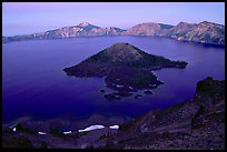 Wizard Island and Lake at dusk. Crater Lake National Park ( color)