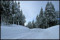 Snow-covered road. Crater Lake National Park, Oregon, USA. (color)