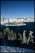 Trees, Wizard Island, and Lake in winter, afternoon. Crater Lake National Park ( color)