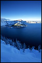 Wizard Island and lake in winter, late afternoon. Crater Lake National Park ( color)