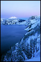 Lake, Mt Garfield, Mt Scott, winter dusk. Crater Lake National Park ( color)