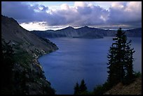 Tree, lake and clouds, Sun Notch. Crater Lake National Park ( color)