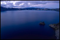 Phantom ship and lake seen from Sun Notch, dusk. Crater Lake National Park ( color)