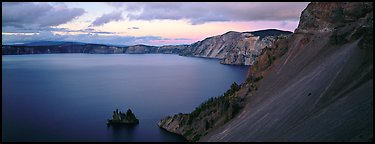 Lake and cliffs, evening. Crater Lake National Park (Panoramic color)