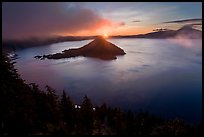 Wide view with sunrise and clouds. Crater Lake National Park ( color)