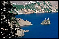 Island called Phantom Ship and crater walls. Crater Lake National Park ( color)