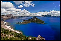 Deep blue lake and clouds. Crater Lake National Park ( color)