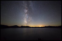Milky Way and Crater Lake with setting moon. Crater Lake National Park ( color)