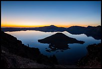 Wizard Island and Crater Lake at dawn. Crater Lake National Park ( color)