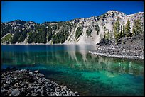 Emerald waters in Fumarole Bay, Wizard Island. Crater Lake National Park ( color)
