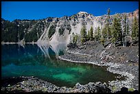 Cove with emerald waters, Fumarole Bay, Wizard Island. Crater Lake National Park ( color)