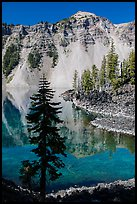 Hemlock, Watchman reflection, and clear waters, Wizard Island. Crater Lake National Park ( color)