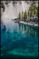 Watchman reflection in clear water of Fumarole Bay, Wizard Island. Crater Lake National Park ( color)
