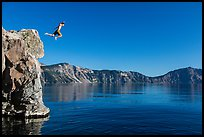 Twenty-five foot jump into more than eighty feet of water. Crater Lake National Park ( color)
