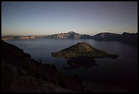 Wizard Island and lake with moonlight. Crater Lake National Park ( color)