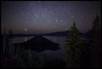 Trees, Wizard Island and lake at night. Crater Lake National Park ( color)