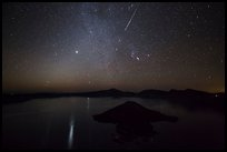 Meteor over Crater Lake. Crater Lake National Park ( color)