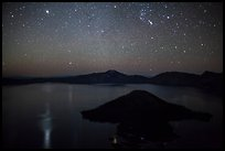Stars and reflections over lake. Crater Lake National Park ( color)