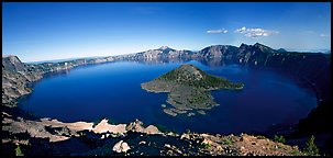 Crater Lake and Wizard Island. Crater Lake National Park (Panoramic color)