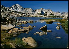 Mt Giraud reflected in a lake in Dusy Basin, morning. Kings Canyon  National Park ( color)