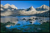 North Palissade, Isocele Peak and Mt Giraud reflected in lake, Dusy Basin. Kings Canyon National Park, California, USA. (color)