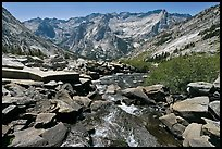 Stream plunging towards Le Conte Canyon. Kings Canyon National Park, California, USA. (color)