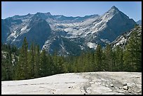 Granite slab, Langille Peak and the Citadel above Le Conte Canyon. Kings Canyon National Park, California, USA. (color)