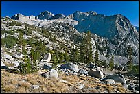 Mt Giraud chain, Lower Dusy basin. Kings Canyon National Park, California, USA. (color)