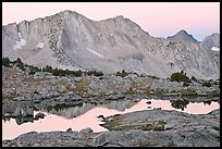 Mountains reflected in calm alpine lake at dawn, Dusy Basin. Kings Canyon National Park, California, USA.