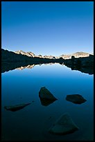 Rocks and calm lake with mountain reflections, early morning, Dusy Basin. Kings Canyon National Park, California, USA.