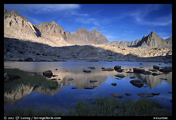 Mt Agasiz, Mt Thunderbolt, and Isoceles Peak reflected in a lake in Dusy Basin, late afternoon. Kings Canyon National Park (color)