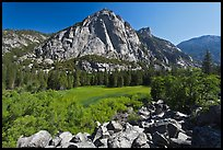 Zumwalt Meadow and North Dome in spring. Kings Canyon National Park, California, USA.