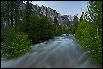 South Forks of the Kings River flowing at dusk. Kings Canyon National Park, California, USA. (color)
