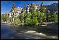 Kings River and trees in the spring, Cedar Grove. Kings Canyon National Park, California, USA.
