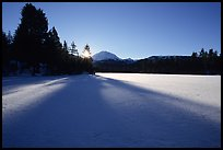 Frozen Manzanita Lake, winter sunrise. Lassen Volcanic National Park ( color)