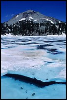 Ice break up in lake Helen and Lassen Peak, early summer. Lassen Volcanic National Park, California, USA. (color)