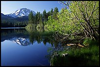 Manzanita lake and Mount Lassen in spring, morning. Lassen Volcanic National Park, California, USA. (color)