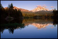 Manzanita lake and Mount Lassen in early summer, sunset. Lassen Volcanic National Park, California, USA. (color)