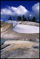Colorful deposits in Bumpass Hell thermal area, early summer. Lassen Volcanic National Park, California, USA. (color)