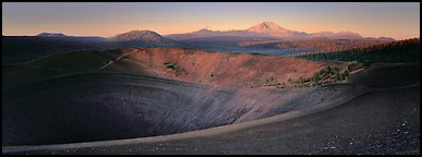 Cinder cone and Lassen Peak at dawn. Lassen Volcanic National Park (Panoramic color)